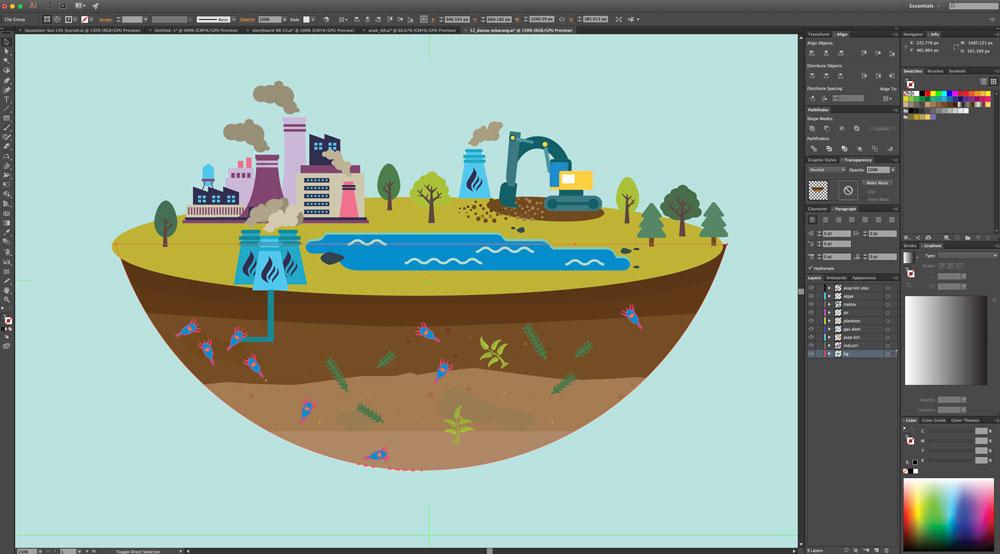 Pembuatan ilustrasi untuk animasi di Adobe Illustrator
