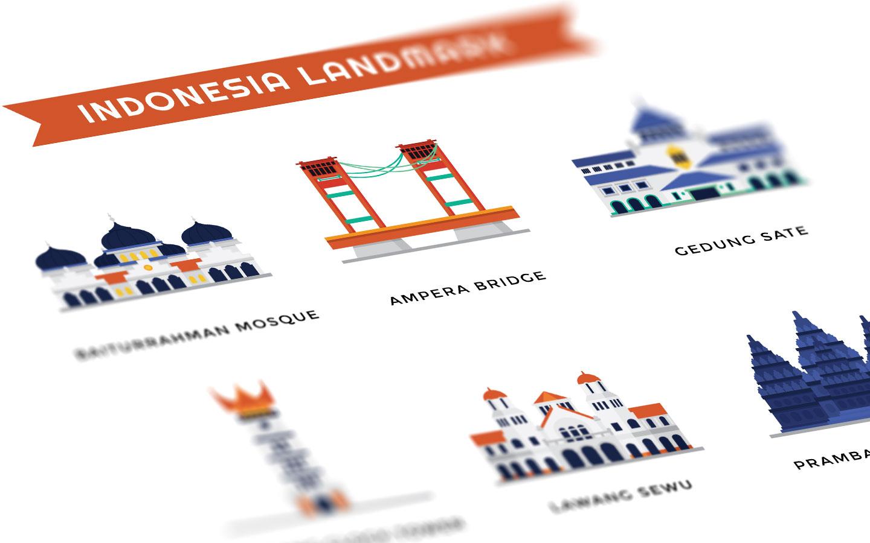 Ilustrasi Landmark di Indonesia